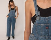 Jean Overalls 90s Denim Bib Overalls Dungarees Long Pants Straight Leg Boyfriend Suspender Hipster Vintage Carpenter Extra Small xs