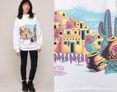 Southwestern Sweatshirt 80s Cactus Desert Shirt BANDELIER NATIONAL MONUMENT Southwest Sweater 90s Graphic Vintage New Mexico Large