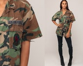 US Air Force Shirt Army Shirt Camouflage Shirt Military Shirt 80s Camo Commando Patch Cargo Olive Drab Green Vintage Utility Small Medium