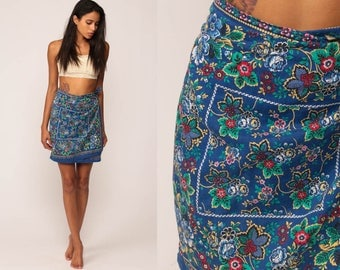 Hippie Wrap Skirt 70s Floral Print Mini 1970s Boho Cotton Bohemian High Waist Vintage Blue Handkerchief Print Small Medium