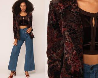 Velvet Jacket Blazer 80s Floral Jacket Boho Vintage 70s Hippie Bohemian Women Hipster Coat Brown Mauve Pink Small