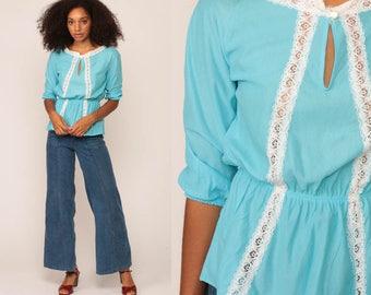 Boho Hippie Blouse 70s Shirt Summer LACE TRIM 1970s Blouse Peplum Bohemian Keyhole Retro Vintage 3/4 Sleeve Baby Blue Small Medium