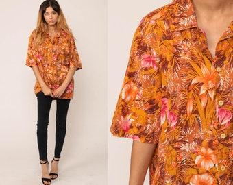 Hawaiian Shirt Tropical Shirt 70s Blouse Button Up Shirt Floral Print 1970s Boho Top Beach Orange Pink Summer Hibiscus Extra Large xl