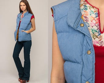 Ski Vest Winter Vest Puffer Vest Retro 70s Goose DOWN Feather Puffy Sleeveless Jacket Blue Hipster Vintage 1970s Extra Small xs