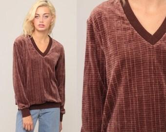 V Neck Sweatshirt VELOUR Striped Sweatshirt 80s Long Sleeve Shirt Grunge Retro Top 70s Brown Freaks and Geeks Boho Pullover Medium Large