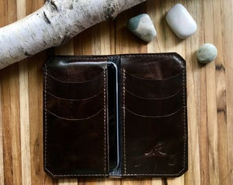 "Leather iPhone Wallet ""The Data"" in Chocolate Espresso"