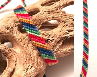 Candy stripe friendship bracelet - handmade - string - thread - knotted - woven - embroidery floss - narrow - small - macrame - skinny