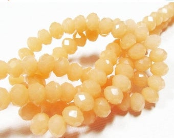 20% OFF LOOSE Glass Beads - Glass Crystal Beads - 4.5x6mm Faceted Rondelle - Opaque Apricot Orange (10 beads) - gla583