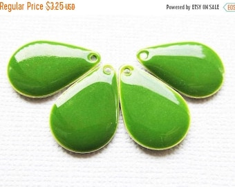 20% OFF Metal & Epoxy Wide Teardrops - Silver Plated Jungle Green (4 drops) - spa455
