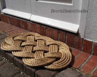 Nautical Welcome Mat - Nautical Rope Rug - Brown Mat - Front Doormat - Manila Mat - 30 by 19 Inches - Rope Doorstop avail - Rope Rug
