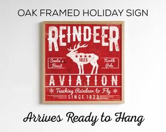 Vintage Christmas Decor - Wood Reindeer Aviation Sign - 3 Color Options