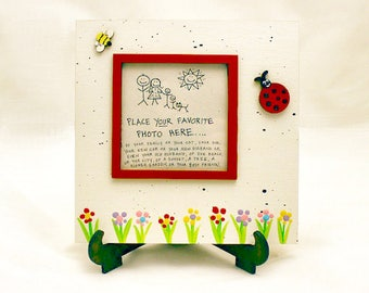 Labybug & Bee Picture Frame - Hand Painted Wooden Frame