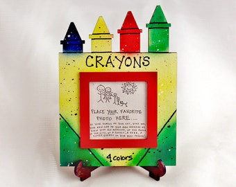 Crayons Picture Frame - Hand Painted Wooden Frame
