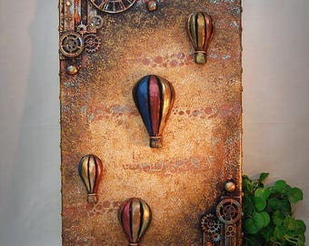 """Original Steampunk Mixed Media, Collage, with 3 dimensional Hand Sculpted, Airships & Hot Air Balloons 10x20"""" Canvas, Home Decor,  Wall Art"""