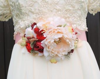 Cream Ivory Peony with Burgundy Ranunculus Bridal Flower Sash, Woodland Fall Weddings Sash Belt, Peony Maternity Belt Sash, Props, Ivory Red