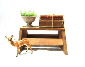 Vintage Wooden Stool, Rough Sawn Primitive Farmhouse Display, Sturdy Milking Stool Child Seat Step Stool, Handmade Mini Bench Display Prop