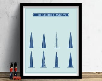 The shard poster etsy modern printable of the shard in london city prints wall art cityscape malvernweather Image collections