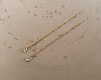 Solitaire Diamond Look Gold Threader Earrings . ( cubic zirconia)