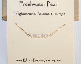 White Freshwater Pearl Bar Necklace. Meaningful spiritual jewelry. Enlightenment. Balance. Courage. Carded necklace.