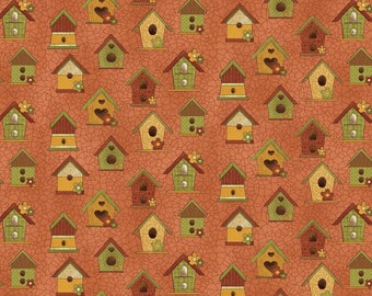 """NEW Chicks on the Run Craft 100% Cotton Quilt Fabric 44"""" wide X 1-1/3 Yards -Salmon Bird Houses"""