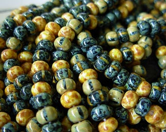 """Picasso Seed Beads, 3/0 Czech Seed Beads, Aged Picasso- Black n White Striped Mix (1/18"""") #001"""