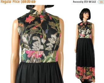ON SALE Vintage Cocktail Dress M 70s Long Sleeveless Black Chiffon Sparkly Gold Floral Free Us Shipping