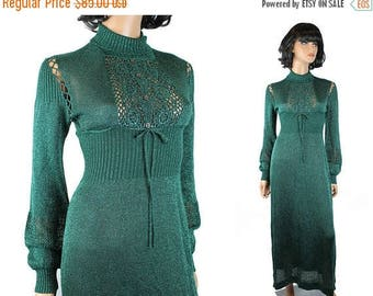 ON SALE Vintage Sweater Dress S M 70s Sexy Long Metallic Green Sparkly Crochet Lace Gown Free Us Shipping