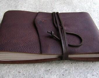 "Guest book / sketchbook / journal, approx. 5.5""x 8.5"", rustic dark brown, landscape journal (2578)"
