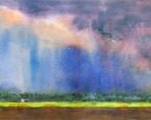 Summer Storm, Californie paysage, Art Print, impression aquarelle, pluie, ciel orageux, peinture de terres agricoles, Blue print, coloré, peinture de ciel