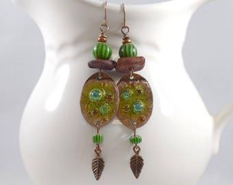 Copper and Green Tribal Boho Chic Earrings, Antique Copper Earrings, Green Brick, Artisan Earrings, Boho Earrings,OOAK,Big Earrings, AE230