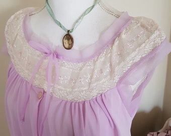 vintage nightdress, 70s clothing, pretty embroidered lace, lilac underwear, granny lingerie