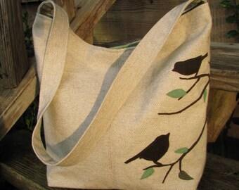 THREE Bird Hobo Bag, Eco-Friendly Purse, Oatmeal Cotton-Linen, zipper pocket, 3 large open pockets, Inside keychain