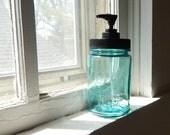 Vintage Wavy Glass blue Ball Mason Jar Soap Dispenser with rustproof black pump lid, circa 1915