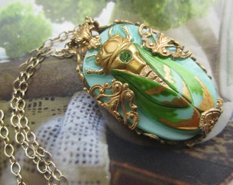 Regal Czech Glass Cicada As A Necklace In Aqua,Greens And Gold
