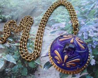 Purple Raised Glass Double Dragonfly Necklace Vintage Style Pendant Necklace