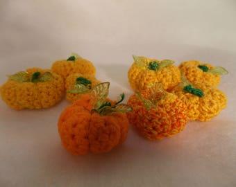 Miniature Crocheted Pumpkins~DIY Autumn Jewelry~Crochet Pumpkin Beads~Fall Harvest Holiday Halloween Thanksgiving Pumpkins