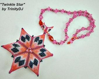 Peyote - Twinkle Star - 2018 - 006 - (BP-PEY-177) - Necklace Tutorial, beading pattern, beading tutorial, beaded necklace, beadwork star