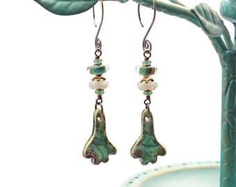 Porcelain and Lampwork Bead Earrings Boho Wirewrapped Czech Green Seaglass Glowy White Opal Glass Flowers Handwrought Copper Earwires OOAK