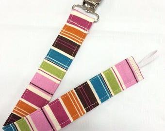 On Sale Funky Stripes Paci Binky Clip