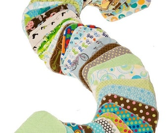 On Sale Sweet Bobbins Cloth Wipes - Set of 30 wipes - OBV and Flannel - 6x8