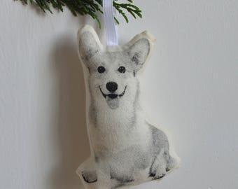 Silkscreen Corgi Ornament