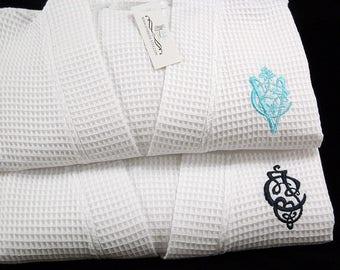 Cotton Anniversary Gift, Wedding Robes, Monogram Bathrobe, Personalized Robes, jfyBride, 1602ENT Set of 2 Robes