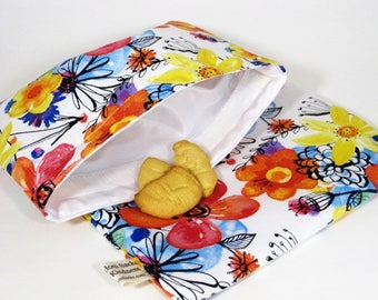 Perfect Flowers Reusable Sandwich and Snack Bag Set