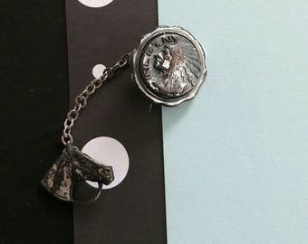Vintage Mid Century Two Part Metal Tie Tack with Native American & Horse