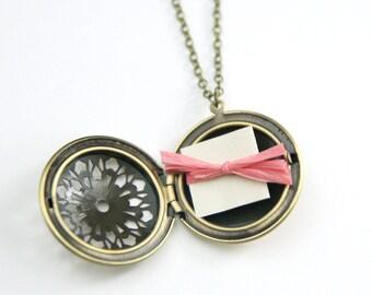 Personalized Filigree Locket   Bridesmaid Locket Necklace   Secret Message Locket   Best Friend Gift   Wife Gift   Christmas Gift
