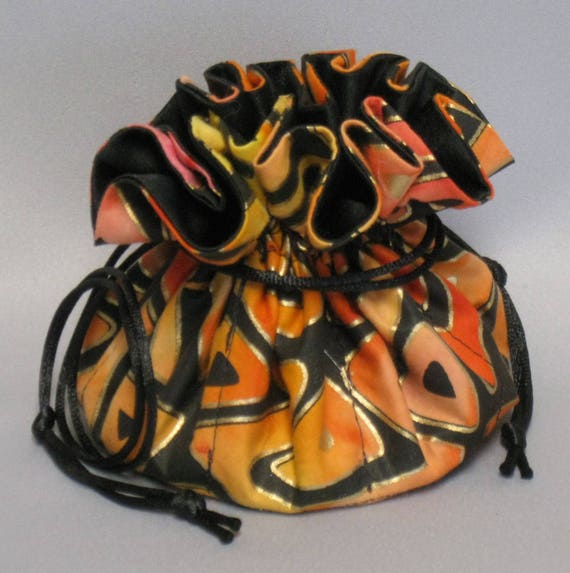 Jewelry Drawstring Travel Tote---Gold Trinidad Design---Medium Size Organizer Pouch