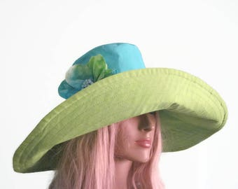 Turquoise & Lime Green Wide Brim Sun Hat with Handmade Flower Trim