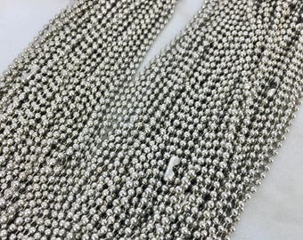 Set of five (5) 24 inch silver 2.4mm ball chain  - Destash New - MSRP 2 dollars each chain