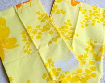 Vintage Pillowcases - Butterflies on Yellow - Standard Size Pair NOS Springmaid