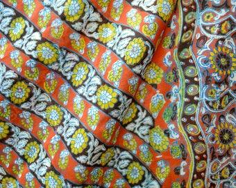 Vintage Silk Sari Scarf - Orange and Yellow Sunflower Diagonal Stripe - Over 5 Yards Long